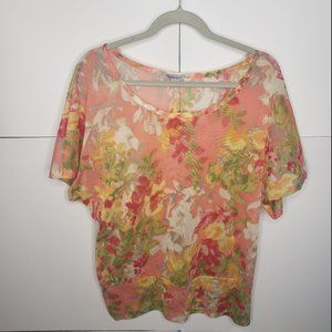 Charlotte Russe Sheer Floral Top Size XL